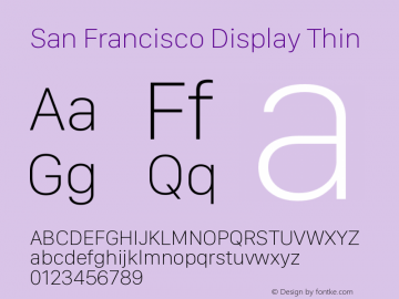 San Francisco Display Thin Version 1.00 March 27, 2017, initial release图片样张