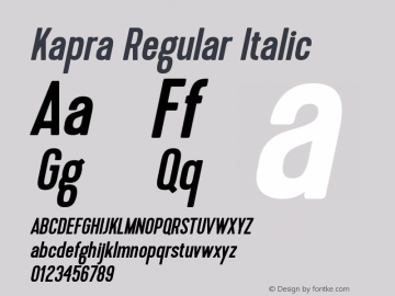 Kapra-RegularItalic 1.000图片样张