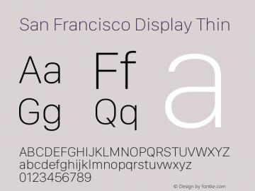 San Francisco Display Thin Version 1.00 December 23, 2016, initial release图片样张