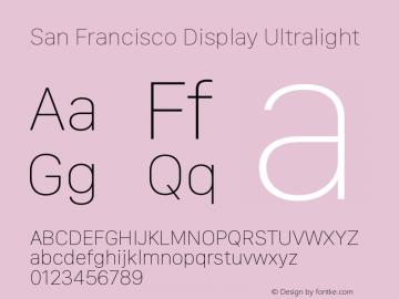 San Francisco Display Ultralight Version 1.00 December 23, 2016, initial release图片样张