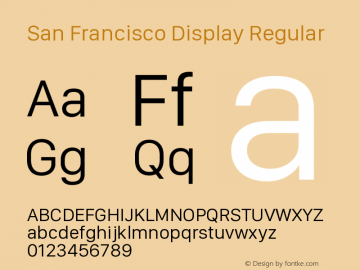 San Francisco Display Regular Version 1.00 December 23, 2016, initial release图片样张