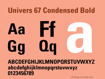 Univers-CondensedBold Version 001.000 Font Sample