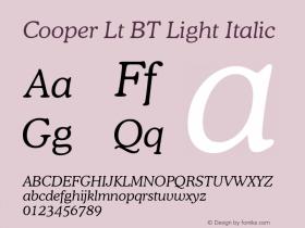 Cooper Lt BT Light Italic mfgpctt-v4.4 Jan 4 1999图片样张