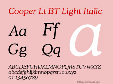 Cooper Lt BT Light Italic mfgpctt-v4.4 Jan 4 1999图片样张