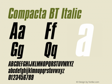 Compacta Italic BT spoyal2tt v1.34图片样张