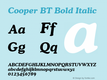 Cooper Bold Italic BT spoyal2tt v1.34图片样张
