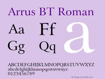 Bitstream Arrus BT spoyal2tt v1.25 Font Sample