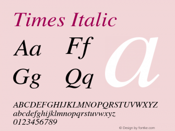 Times Italic 3.0图片样张