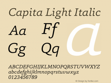 Capita-LightItalic Version 1.000图片样张