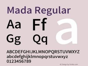 Mada-Regular Version 001.004 ; ttfautohint (v1.5.33-1714) -l 8 -r 50 -G 200 -x 0 -D latn -f arab -w G -W -c -X