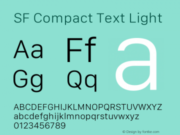 SF Compact Text Light Version 1.00 July 13, 2017, initial release图片样张
