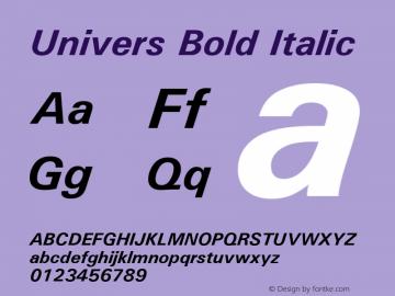 Univers Bold Italic 19: 94024 Font Sample