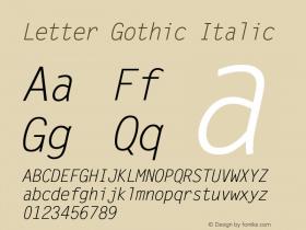 Letter Gothic Italic 19: 93778图片样张