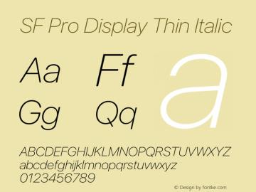 SF Pro Display Thin Italic Version 13.0d3e20图片样张