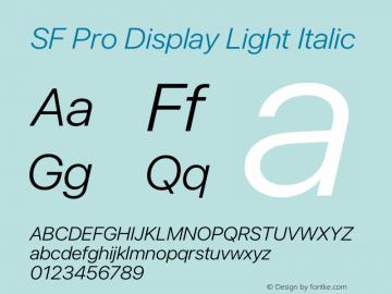 SF Pro Display Light Italic Version 13.0d3e20图片样张