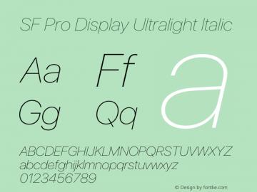 SF Pro Display Ultralight Italic Version 13.0d3e20图片样张