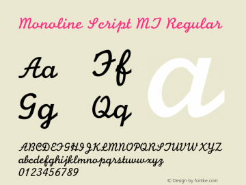 Monoline Script MT Regular Version 3.00 - July 2001 Font Sample