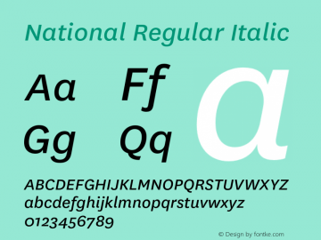 National-RegularItalic Version 1.000 _ Initial retail release, 2007.10图片样张