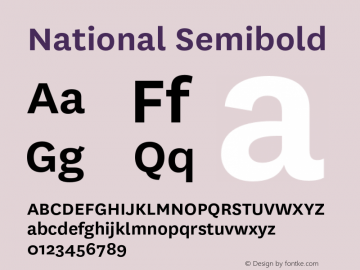 National-Semibold Version 1.000 _ Initial retail release, 2007.10图片样张