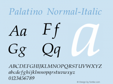 Palatino Normal-Italic 001.000 Font Sample