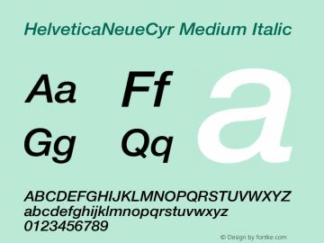 HelveticaNeueCyr-MediumItalic 001.000图片样张