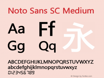 Noto Sans SC Medium Version 0.00 May 4, 2016图片样张