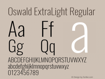 Oswald ExtraLight Regular 图片样张