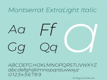 MontserratExtraLight Version 1.0 Font Sample