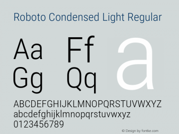Roboto Condensed Light Regular 图片样张