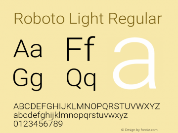 Roboto Light Regular 图片样张