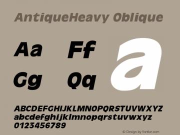 AntiqueHeavy Oblique 1.000 Font Sample