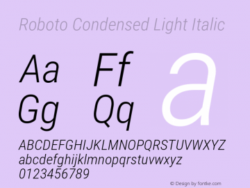 Roboto Condensed Light Italic 图片样张