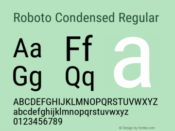 Roboto Condensed Regular 图片样张