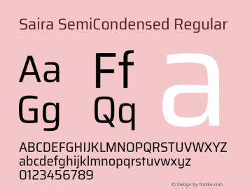 Saira SemiCondensed Regular 图片样张