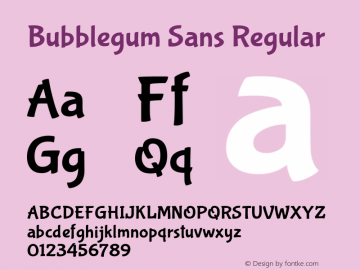 Bubblegum Sans Regular 图片样张