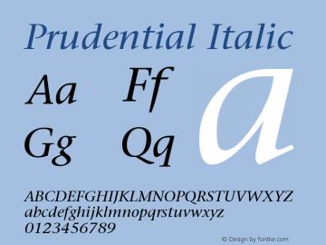 Prudential Italic Publisher's Paradise -- Media Graphics International Inc. Font Sample