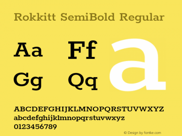 RokkittSemiBold Version 1.0 Font Sample