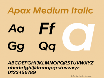 Apax Medium Italic Version 1.000图片样张
