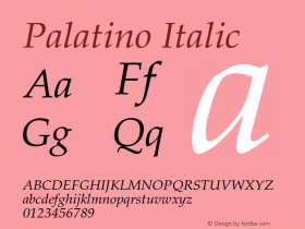 Palatino Italic 001.005图片样张
