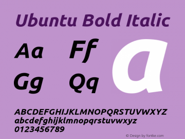 Ubuntu Bold Italic  Font Sample