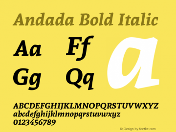 Andada Bold Italic 图片样张