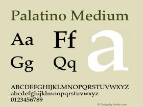 Palatino Medium 001.000 Font Sample