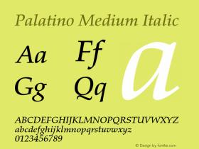 Palatino Medium Italic 001.000 Font Sample