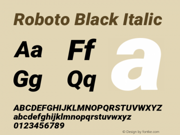 Roboto Black Italic 图片样张