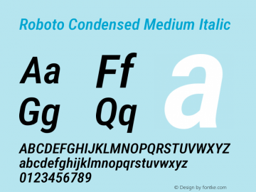 Roboto Condensed Medium Italic Version 2.138图片样张