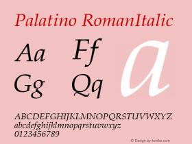 Palatino RomanItalic Version 1.00 Font Sample