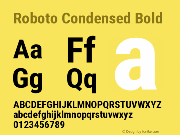 Roboto Condensed Bold Version 2.138; 2017图片样张