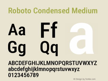 Roboto Condensed Medium Version 2.138; 2017图片样张