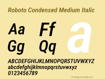 Roboto Condensed Medium Italic Version 2.138; 2017图片样张