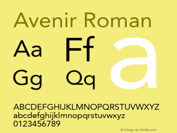 Avenir Roman 8.0d3e1图片样张